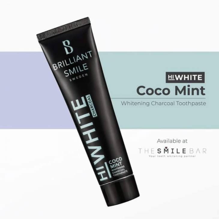 Brilliant Smile's HiWhite Charcoal Toothpaste helps whiten teeth naturally and comes in different flavors like Black Mint, Licorice Mint, and Coco Mint